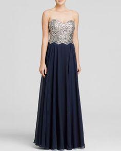 AQUA Gown - Embellished Bustier Tie-Back | Bloomingdale's