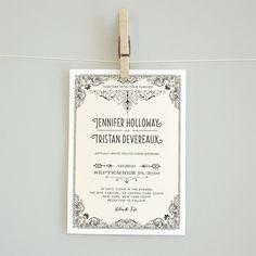 printable DIY wedding invitation suite vintage retro edwardian wedding rsvp card reception card details card- JENNIFER by bonjourpapershop on Etsy https://www.etsy.com/listing/111627963/printable-diy-wedding-invitation-suite