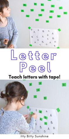 Peel and Match A quick and easy activity for teaching your toddler to recognize letters!A quick and easy activity for teaching your toddler to recognize letters! Toddler Learning Activities, Preschool Learning Activities, Letter Activities, Infant Activities, Toddler Preschool, Kids Learning, Activities For Summer, Educational Crafts For Toddlers, Activities For Preschoolers