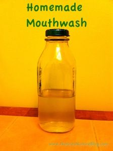 homemade mouthwash: water, hydrogen peroxide, mint essential oil