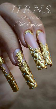 Gold Glitter Nails, Rhinestone Nails, Bling Nails, Stiletto Nails, Swag Nails, Crazy Nail Art, Crazy Nails, Pretty Nail Art, Dope Nails