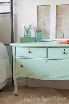 Beautiful Mint Painted Nightstand