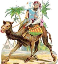Oblaten Glanzbild scrap die cut chromo Kamel camel ride reiten