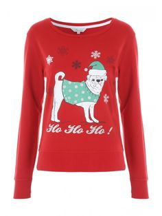 Get in the festive spirit with this women's novelty Christmas sweater. With a 'Ho Ho Ho' slogan and a pug motif motif on the front, this jumper is the perfect pick for a spot of festive fun.