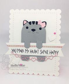 Your Next Stamp:  Cute Cat Bookmark Die set, String Heart Die  #yournextstamp