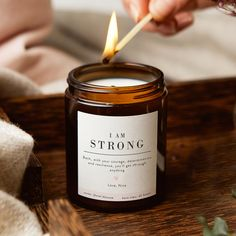 I Am Strong Affirmation Mindfulness Candle During difficult times we sometimes need affirmation we are stronger than we think we are. Our friends and family can often see this even when we can't. This thoughtful, caring candle gift tells your special person just how strong and brave you think they are. The stylish apothecary style jar candle has a pure white label with the motivational message. 'I Am Strong', in bold font leaving room for your optional personalised message underneath; then, sepa Candle Labels, Candle Jars, Scented Candles, Aroma Candles, Valentines Day Gifts For Her, Gifts For Mum, Personalized Candles, White Gift Boxes, Candle Making