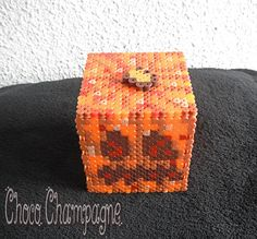 Minecraft Pumpkin box perler beads by ChocoChampagne Crafts To Make, Fun Crafts, Crafts For Kids, Arts And Crafts, Hama Beads Patterns, Beading Patterns, Minecraft Pumpkin, Minecraft Party, Minecraft Stuff