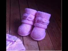 Boots style Uggs tricot bébé 2/ Botitas bebe dos agujas Uggs2 - YouTube