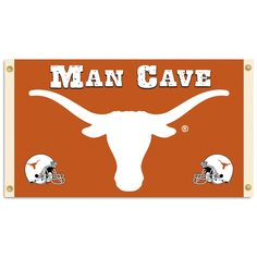 Texas Longhorns Man Cave Flag is an Officially licensed x NCAA flag with attached 4 metal grommets, easy to hang. Support your favorite college team with these collegiant flags at the Vintage Sign Shack. Man Cave Flags, Brown And Grey, Red And Blue, Purple Yellow, Orange, Texas Longhorns Football, Texas Man, Evergreen Flags, American Traditional