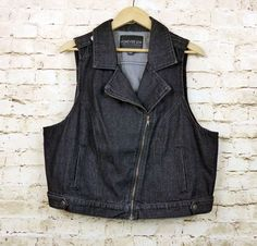 dde8b9cdde Forever 21 Plus Size 3X Womens Black Biker Motorcycle Denim Vest Rock Goth  #FOREVER21 #