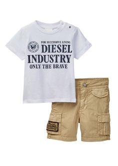 Diesel Tumcay Tee & Cargo Short Set White Khaki Size 24 Months MSRP $69  | eBay