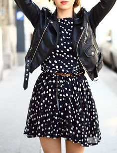 Polka dot dress + Moto jacket