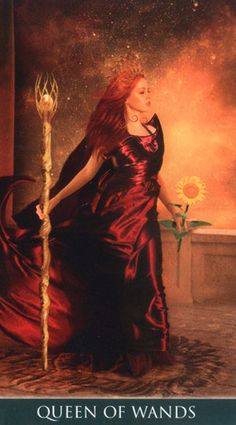Queen of Wands - Thelema Tarot All Tarot Cards, Brand Archetypes, Online Tarot, Oracle Tarot, Tarot Learning, Tarot Card Meanings, Angel Cards, Witch Art, Fantasy Dragon