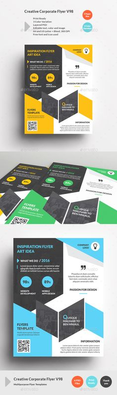 Creative Corporate Flyer V98 - Corporate Flyers | Download http://graphicriver.net/item/creative-corporate-flyer-v98/15345413?ref=sinzo