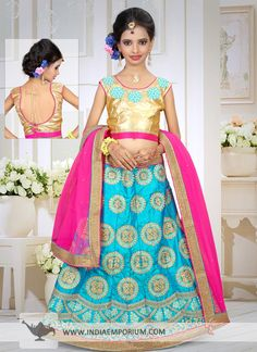Enviable Blue & Pink Zari #Embroidered #Net #Kids #Lehenga #Choli