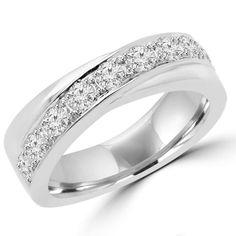- Majesty Diamonds - 3/5 CTW Round Cut Diamond Fashion Wedding Band Anniversary Ring in 14K White Gold, $1,239.00 (http://www.majestydiamonds.com/3-5-ctw-round-cut-diamond-fashion-wedding-band-anniversary-ring-in-14k-white-gold/)