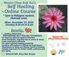 🌅HEARTY WELCOME to online Course PRANIC HEALERS & NON PRANIC HEALERS ( Philippine Residents National level ) 🌺SELF HEALING COURSE Nov. 29 (Sun) 8:30 am- 6 pm Pls register on line with PHFP admin. before or on Nov 28, 2020 click the link: phfp.ph/selfpranichealing Educator: Atty. Mai Guipo ORGANIZING TEAM: PHFP PHTC ~ Managers For inquiries: 09178527434 pranichealingphilippines@gmail.com