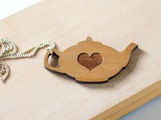 Teapot necklace tea love laser cut wood jewellery