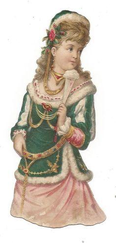 Victorian Die Cut Scrap Fancy Girl