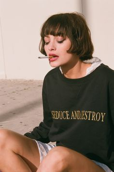 Taylor wears our 'Seduce & Destroy' Sweat available online now loversanddrifters.com