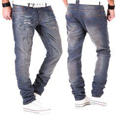 Japan Style Tazzio Herren Jeans Hose Denim Clubwear Kosmo Fit Chino Used Blau