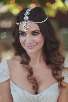 gorgeous bride in a bohemian headpiece