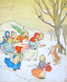 ida bohatta illustration card or print children in the snow book illustrations christmas xmas holiday winter solstice waldorf germany