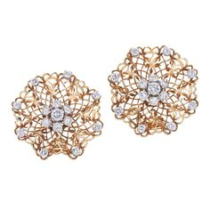 Van Cleef & Arpels Yellow Gold Diamond Handkerchief Earrings | From a unique collection of vintage clip-on earrings at https://www.1stdibs.com/jewelry/earrings/clip-on-earrings/