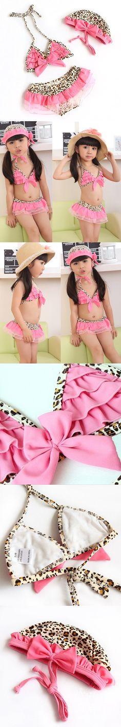3 pcs Kids Girls Leopard Bikini Top&Bottom Beach dress Swimsuit Swimwear 1-7 Year Hot Sale $8.09 Leopard Bikini, Floral Bikini, Swimsuits, Bikinis, Swimwear, Kids Girls, Bikini Tops, Popular, Beach