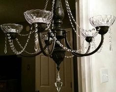 Shabby chic light, black chandelier, home decor light, Crystal Light https://www.etsy.com/listing/264899044/crystal-chandelier-black-crystal