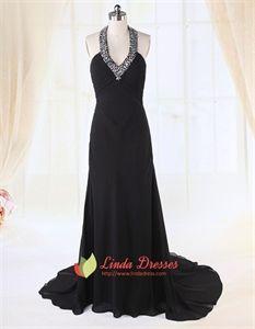 Long Black Chiffon Evening Dress, Empire Waist Halter Prom Dress, Long Black Chiffon Halter Dress, V-Neck Halter Prom Dress, Long Black Dress With Train, Chiffon Halter Dress Pleated Bust. Linda Dresses