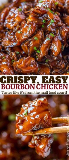 Easy Bourbon Chicken that's crispy, sweet, sticky and tastes just like the kind you grew up eating at the mall! #chinesefoodrecipes