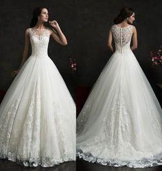 2015-Weiss-Spitze-Ballkleid-Abendkleid-Hochzeitskleid-Brautkleid-32-34-36-38-40