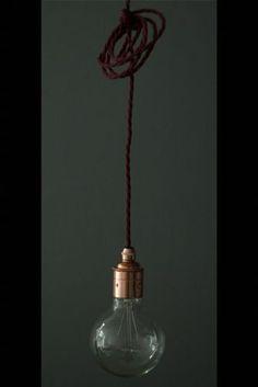 www.rockettstgeorge.co.uk Copper Edison es27 Screw Light Fitting with Burgundy Twisted Flex & Black Ceiling Rose