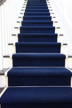 staircase. Navy with white border - Libby Langdon Interior Design