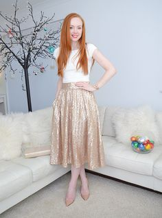gold sequin midi skirt and high heels