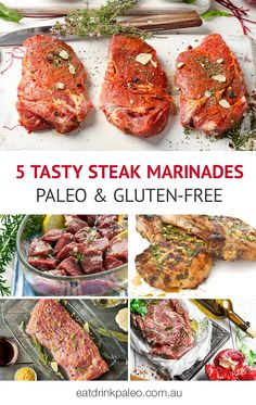 5 Of The Best Paleo Steak Marinades - perfect to marinate cheaper cuts of meat such as skirt or flank steak spice up lamb chops and kebobs and to enhance a good old rib eye steak or fillet just before grilling. Steak Fajitas, Steak Marinade For Grilling, Steak Marinade Recipes, Grilled Steak Recipes, Ribeye Steak Marinade, Grilling Recipes, Steaks, Skirt Steak, Paleo Dinner