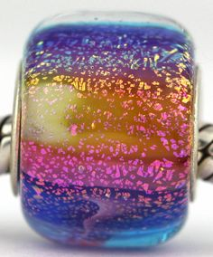RAINBOW  fits Pandora and Trollbeads bracelets artisan murano glass charm bead. Cored with sterling silver. Made by glass artist Mandy Ramsdell