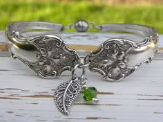 Spoon handle bracelet  tree leaf charm by WhisperingMetalworks
