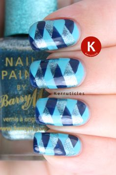 Braided nails using Barry M polishes: Turquoise, Blackberry and Christmas Blue (SLE 2012 A)
