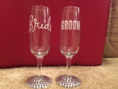 Bride and Groom Toasting Glasses by weddingglamor. Explore more products on http://weddingglamor.etsy.com
