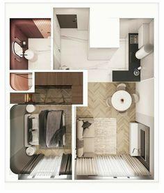 Small Apartment Plans, Studio Apartment Floor Plans, Small Apartment Design, Studio Apartment Decorating, Apartment Layout, Sims House Plans, House Layout Plans, Small House Plans, House Floor Plans