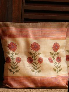 Orange Block Printed Silk Cushion Covers - Set Of 2