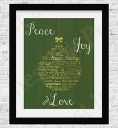 Peace Joy and Love Green White and Gold Foil by FreshestInkPrints Gold Foil, Christmas Ideas, Merry, Joy, Peace, Lights, Creative, Happy, Holiday