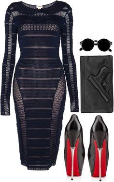 ❤ liked on Polyvore Temperley London sleeve dress, $1,065 / Christian Louboutin black high heel shoes / Vlieger Vandam genuine leather handbag /...