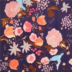 purple flower bird blossom Kokka double gauze fabric  1