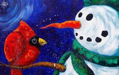 Beginners acrylic painting  | Snowman with Cardinal | The Art Sherpa pai...