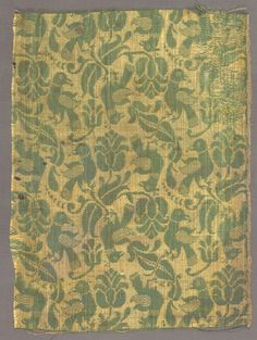 Fragment with Birds and Floral Motif, Italy or Spain ?, 17th century, damask, silk, Overall: 35.50 x 26.30 cm, Cleveland Museum of Art