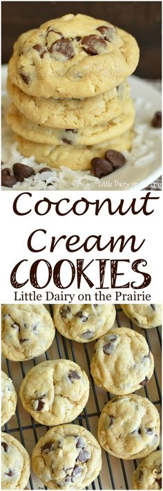 Coconut loves are going to go crazy over these super soft Coconut Cream Cookies! Loading them with chocolate makes them even better!