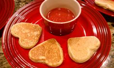 Mini Heart Pancakes with Strawberry Sauce